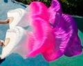 Новый прибытие в режиме реального шелковый шарф вентилятор вентилятор танец Живота высокое качество шелк смешанные Многоцветный 180 см долго, горячий продавать