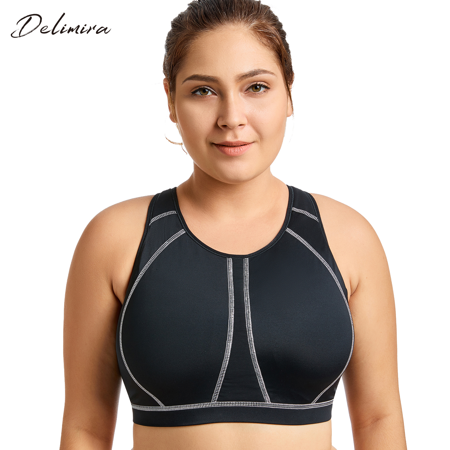 031f7c019a Women s High Impact Full Support Wire Free Molded Cup Active Plus Size  Exercise Bra-in Bras from Underwear   Sleepwears on Aliexpress.com