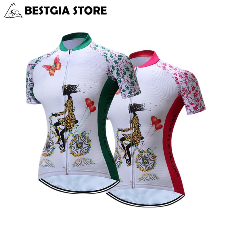 2017 여름 여성 자전거 유니폼 짧은 소매 100 % 폴리 에스테르 빠른 건조 자전거 의류 자외선 탑 자전거 통기성 셔츠