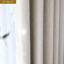 CITYINCITY solid 100% blackout Curtain For Living room Home Decor thick Faux linen Curtains for Bedroom ready made custom