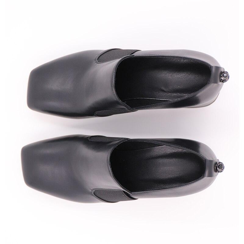 Mode Cuir Neuf 2019 Épais Chaussures Pompes En Karinluna Classiques De Flambant Noir Véritable Talons Chic Femmes Style Ew0fq6