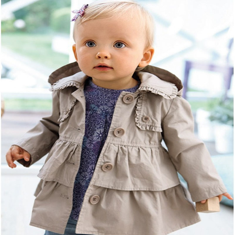 2017 New Baby Infant Girl Warm Autumn Spring Jackets Toddler Girl Long Hooded Coat Kids Windbreaker Children Overcoat Wholesale