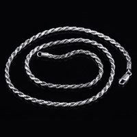 S925 silver Italy imported fashion men's silver Hemp Necklace retro jewelry wholesale clavicle female personality