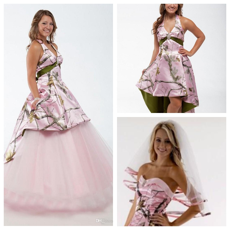 Camouflage Wedding Gowns: Beautiful Halter Pink Camo A Line Wedding Dresses