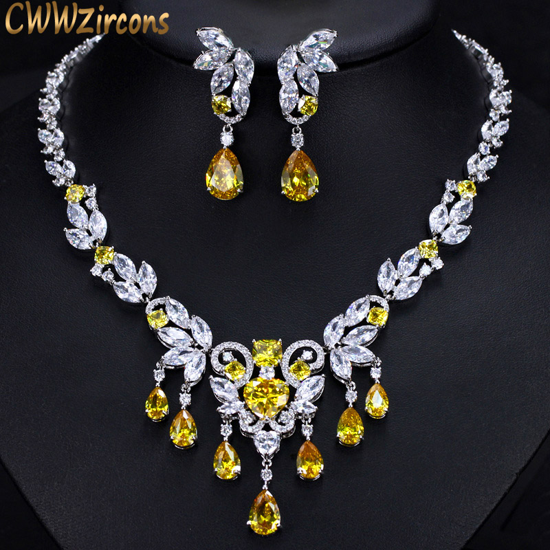 CWWZircons High Quality Yellow Cubic Zirconia African Luxury Tassel Drop Wedding Necklace Jewelry Sets For Brides