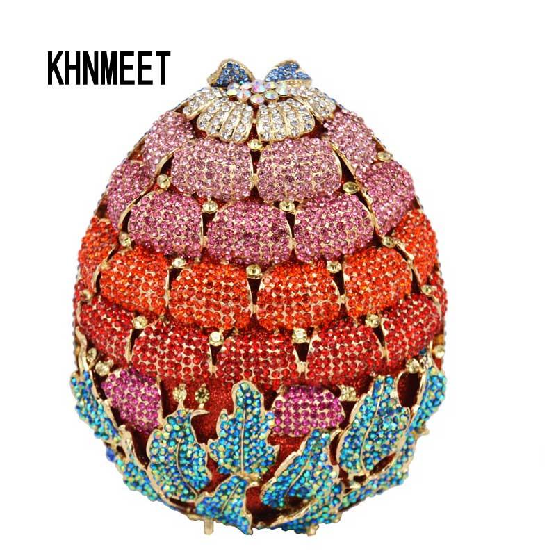 Najnowszy luksusowa Diamond truskawka wieczór Clutch Bag dla kopertówka torba na ślub panie kryształ wieczorowa koktajlowa torebka SC473 w Torby z uchwytem od Bagaże i torby na  Grupa 1
