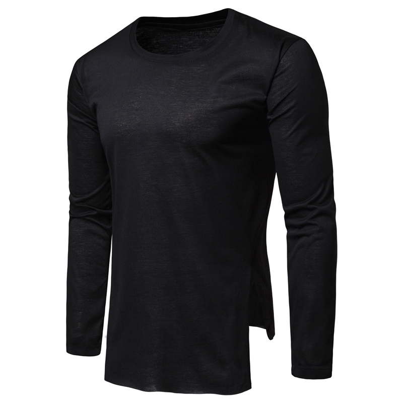 Men 39 s T shirt Milk Silk Comfortable Solid Color T Shirt Round Neck Long sleeved Men 39 s Tops Plus Size M 3XL Streewear in T Shirts from Men 39 s Clothing
