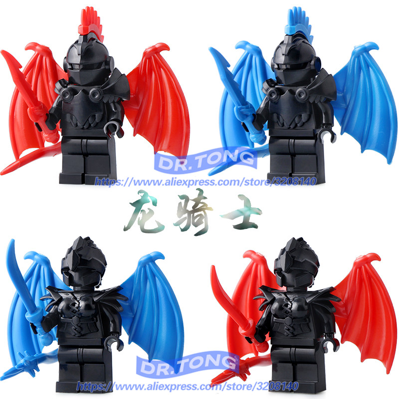 Single Sale Medieval Castle Knights Dragon Knights The Hobbits Lord of the Rings Figures with Armor Building Blocks Brick Toys enlighten new 2315 656pcs war of glory castle knights the sliver hawk castle 6 figures building block brick toys for children