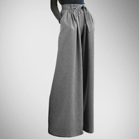 Time limited Special Offer Pockets Sashes Fake Zippers Loose Pantalones Mujer Leather Pants Skirt Trousers Wide Leg Pants