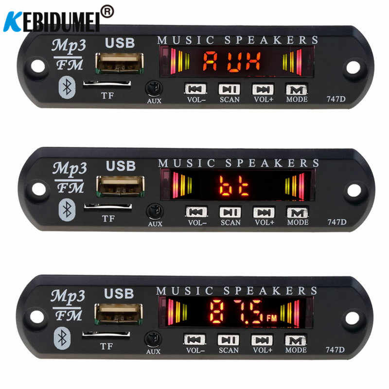 Kit de coche Bluetooth 5V 12V receptor inalámbrico FM reproductor Mp3 decodificador tablero USB 3,5 MM reproductor de música DIY Modificación de altavoz de coche