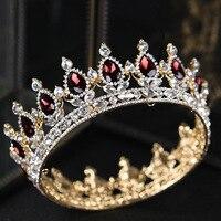 New 2018 Luxury Royal Bridal Tiaras Headpieces Clear Rhinestone Crystal Bridal Crown Wedding Hair Accessories Round Big Crowns