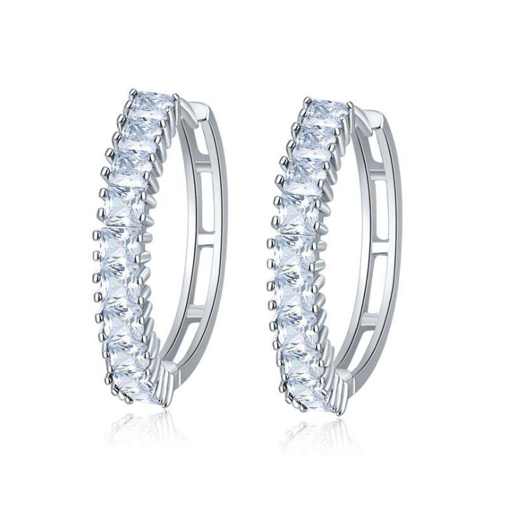 Europe United States Simple Single Row Crystal Zircon Ear Ring Full Drill Hypoallergenic Earrings YP3620
