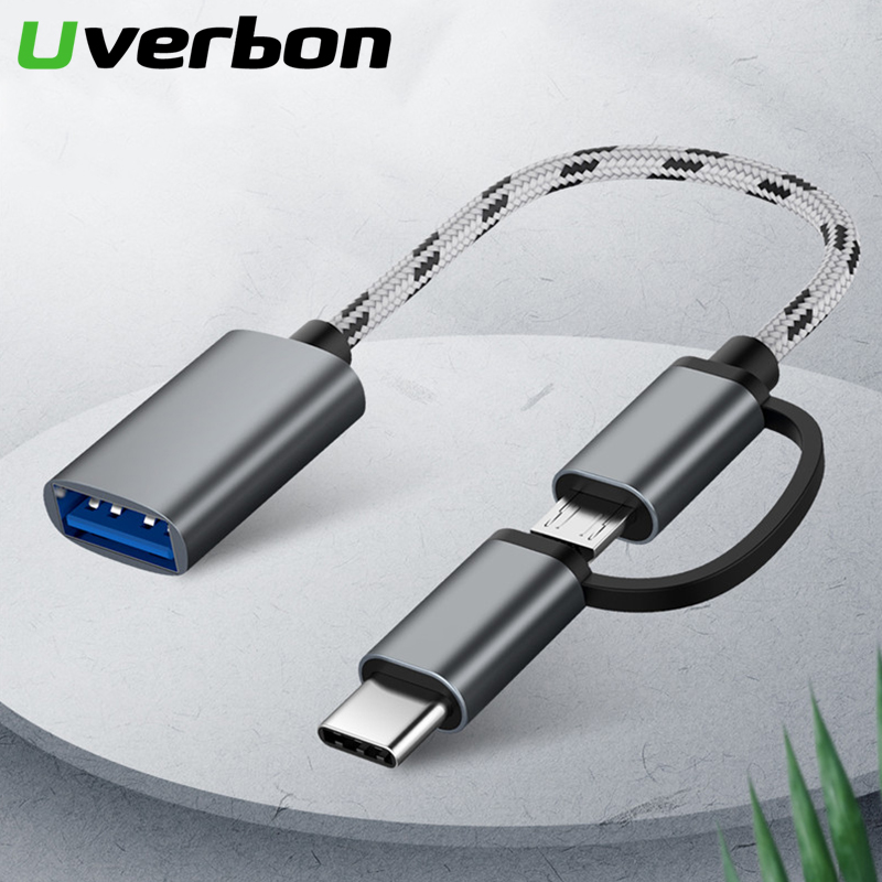 2 In 1 USB 3.0 OTG Cable Nylon Braid Micro USB Type C Data Sync Charge Adapter For Samsung One Plus MacBook USBC Type-C OTG