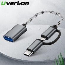 цена на 2 in 1 USB 3.0 OTG Cable Nylon Braid Micro USB Type C Data Sync Charge Adapter for Samsung One Plus MacBook USBC Type-C OTG