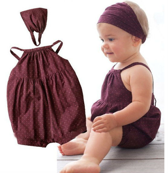 2018 Summer New Baby Girl Rompers Baby Girl Deep Red Dot Harnesses Romper+Head Belt Newborn Baby Clothes Infant Outfits