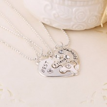 цены MINGQI 3pcs/set Best Friends Forever Three Hearts BFF Split Heart Necklace Creative Metal Pendant Silver Necklace Couple Jewelry