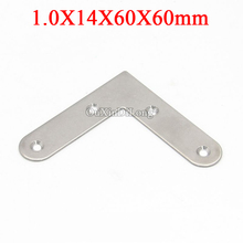 NEW 100PCS Stainless Steel Flat Angle Corner Braces L Shape Furniture Connecting Fittings Frame Board Support Bracket 14X60X60mm 87 87 20mm stainless steel angle bracket l shape satin finish frame board support