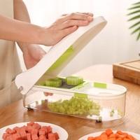 Multifunctional hand Vegetable chopper Fruit Vegetable Cutter Kitchen Household Press Plate Onion goggles Mesh Knife blender