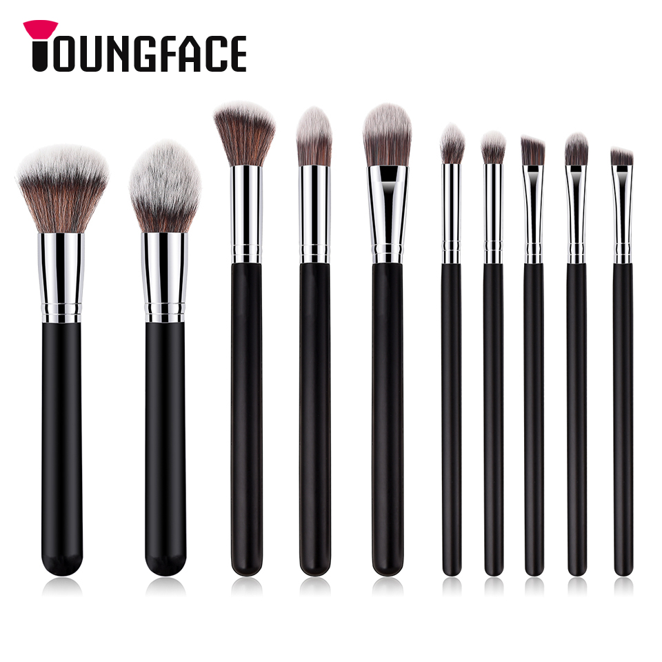 Pro 10pcs Makeup Brushes Set Black/Silver Cosmetic Make up Brush Beauty Powder Foundation Eyeshadow Eyeliner Lip Brush Tool Kit professional 10pcs eyeliner eyeshadow eyebrow lip makeup brushes set cosmetic make up brush blush for face mask beauty kit