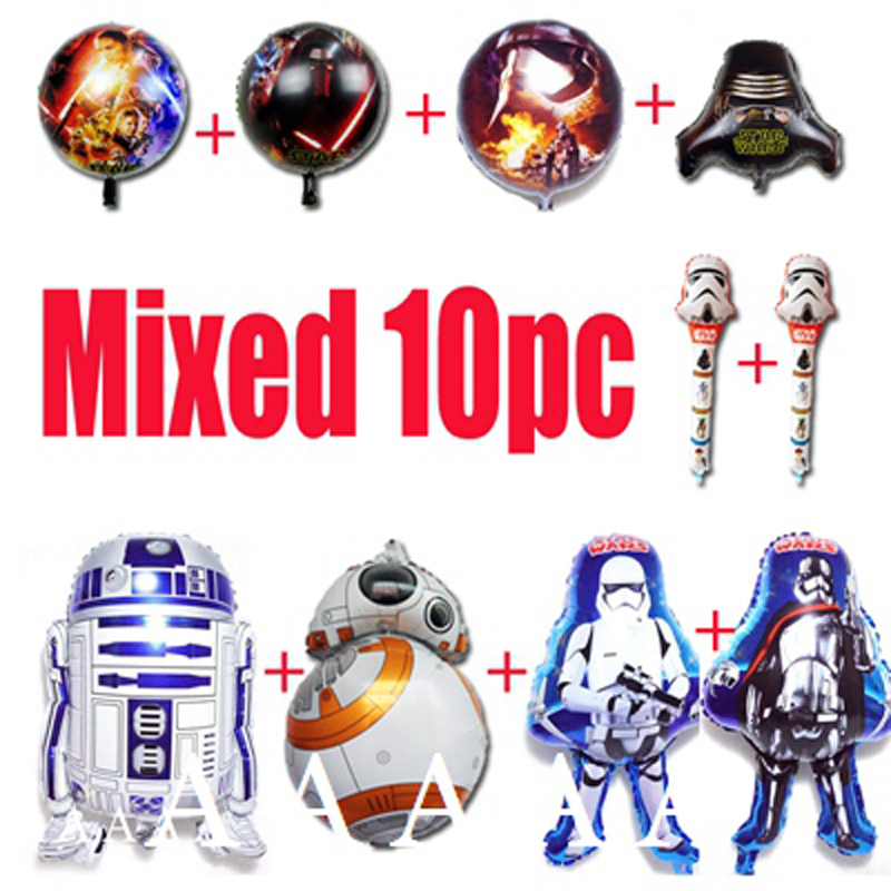 10pcs movie star wars balloons foil material mixed kinds birthday balloons BB8 R