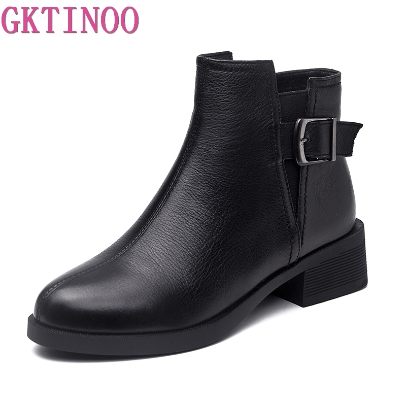 GKTINOO Genuine Leather Women Chelsea Boots Brand Thick Heel Short Ankle Boots Plus Size Platform Single