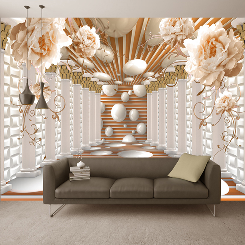 wall 3d modern living flower murals decor abstract study column paper backdrop mural rome flowers background fresco bedroom cafe floral