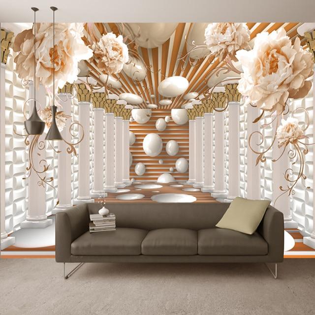 3D Wallpaper Modern Abstract Art Rome Column Flower Photo