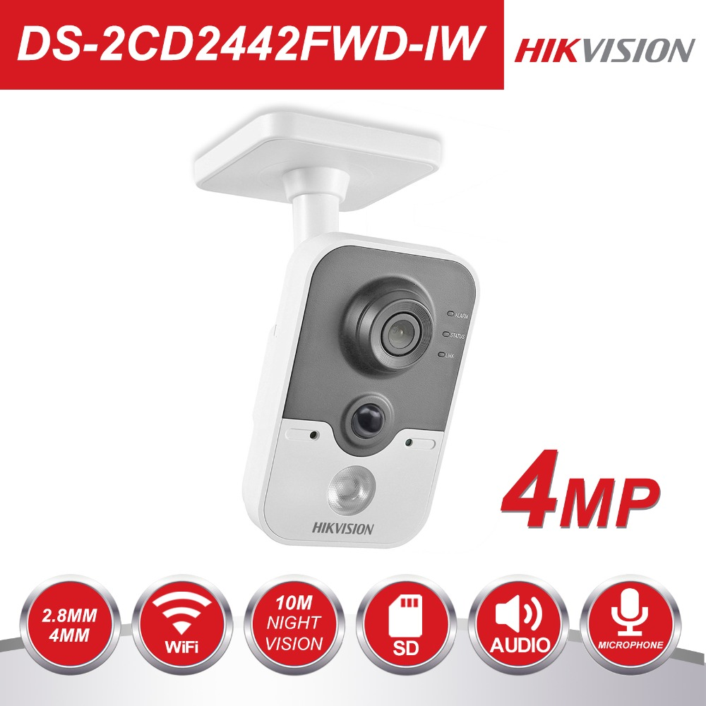 Hikvision Беспроводной IP камера 1080 P DS-2CD2442FWD-IW 4MP Крытый ИК Cube Wi Fi охранных удаленного просмотра поддержка