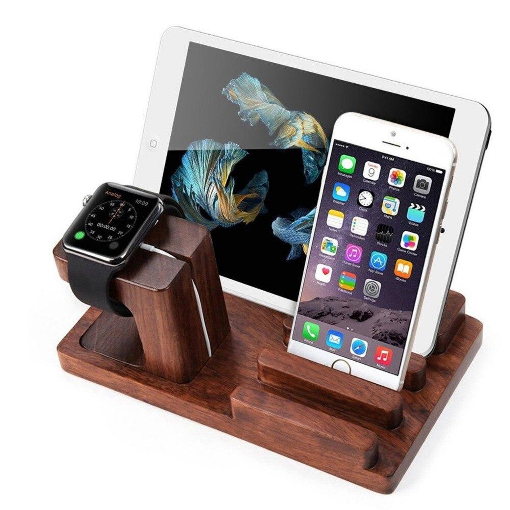 Montre en bambou Support de Station De Charge avec 3 Ports D'alimentation USB pour iphone je Regarde D'accueil support pour samsung F itbit, Garmin, Téléphones