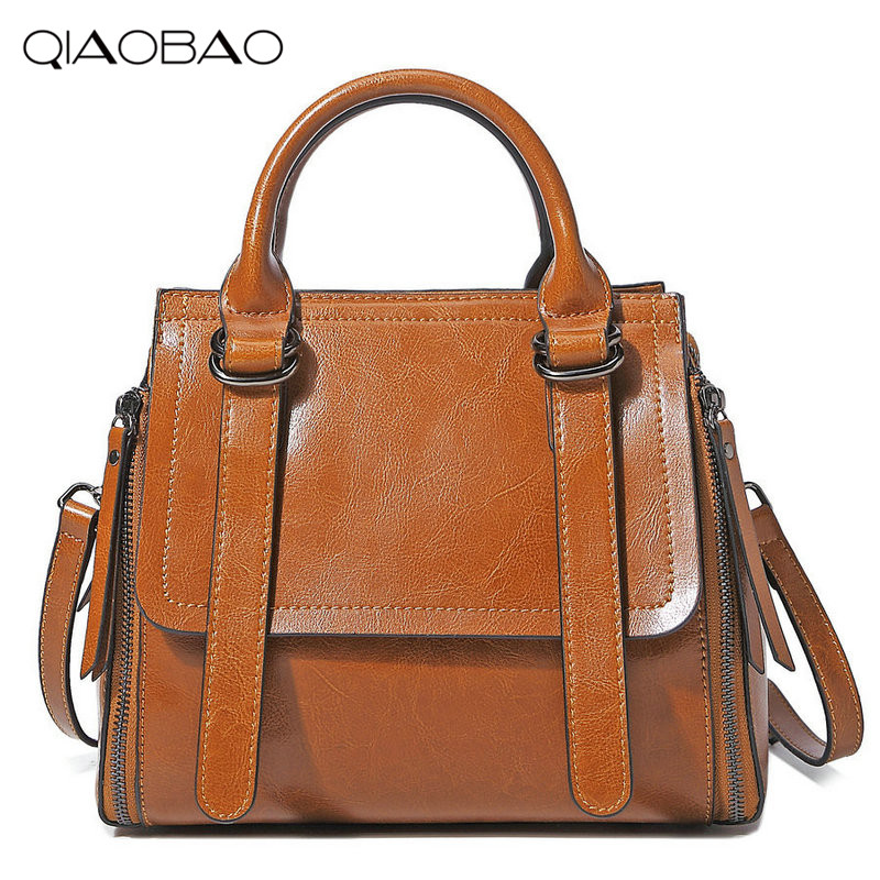 QIAOBAO Genuine leather bag famous brands women messenger bags women handbags bolsas designer handbags high quality shoulder bag genuine leather patckwork bags women casual messenger bag women s lady colorful zipper shoulder designer handbags high quality