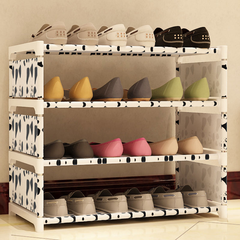 Four Layers Non-woven Cloth Simple Shoe Rack Multi-purpose Shoe Cabinet Books Shelf Toy Plants Storage Shelf Organizer Furniture children s bookcase shelf bookcase cartoon toys household plastic toy storage rack storage rack simple combination racks