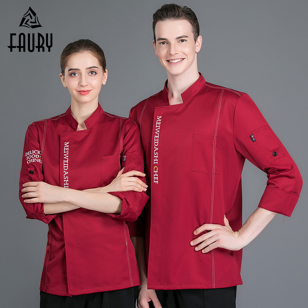 Men Women Chinese Restaurant Cooking Chef Workwear Clothing Adjustable Long Sleeve Cozinha Canteen Kitchen Uniforms Jackets Tops