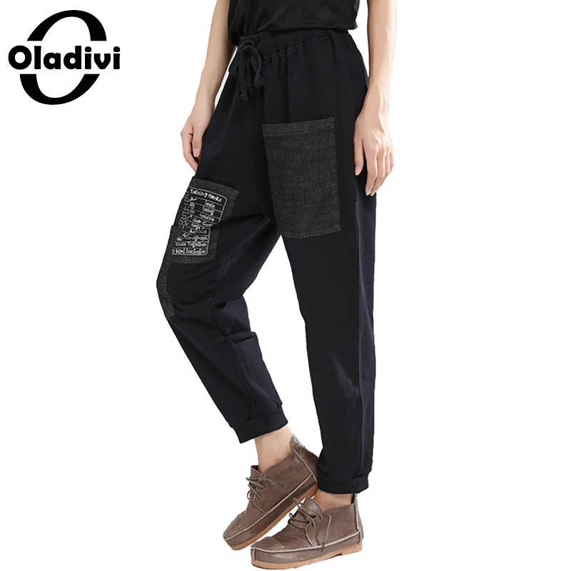 Oladivi Autumn Harem   Pants   Fashion Letter Print Trousers Plus Size   Capris   Vintage Ladies Casual Pantalones Ankle Length Trousers