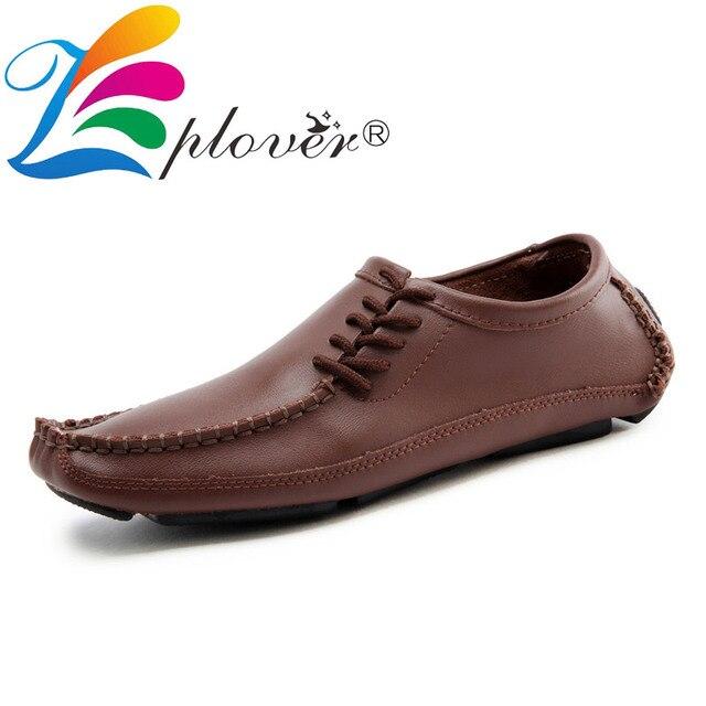 ขนาดใหญ่ 38-47 ฤดูใบไม้ผลิฤดูใบไม้ร่วง Men Loafers รองเท้าแตะ Homme รองเท้าหนังนุ่มผู้ชายขับรถสบายรองเท้า slip ผู้ชายรองเท้า