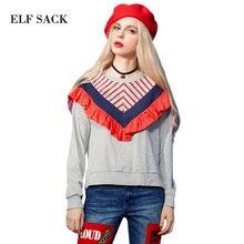 Multicolour ELF SACK w camera winter female loose ruffle top stripe long-sleeve T-shirt female short design