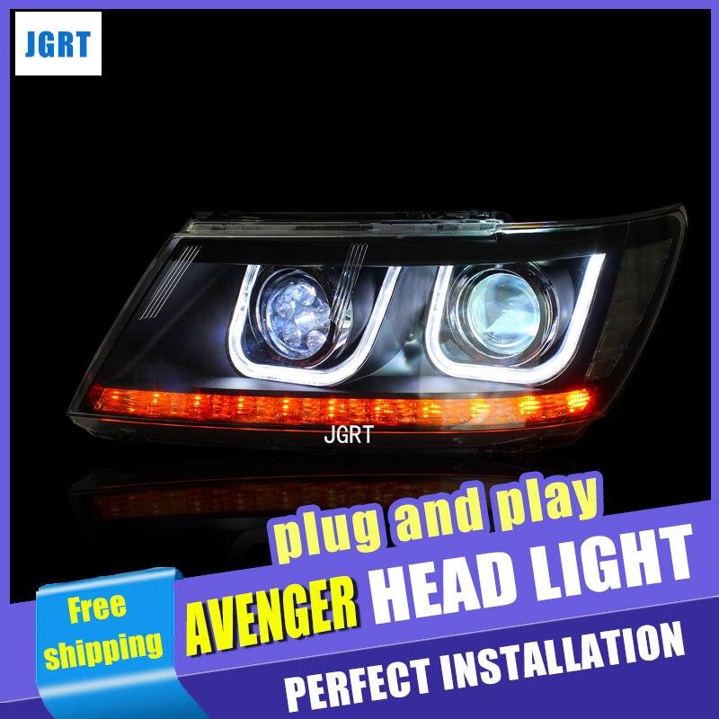car styling For Dodge Avenger headlights U angel eyes DRL 2009-2015 For Avenger LED light bar DRL Q5 bi xenon lens h7 xenon