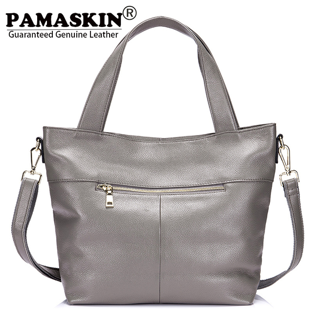 Pamaskin Brand 2018 New Arrivals Las Handbags Premium Genuine Leather Women Shoulder Bags Large Capacity Female