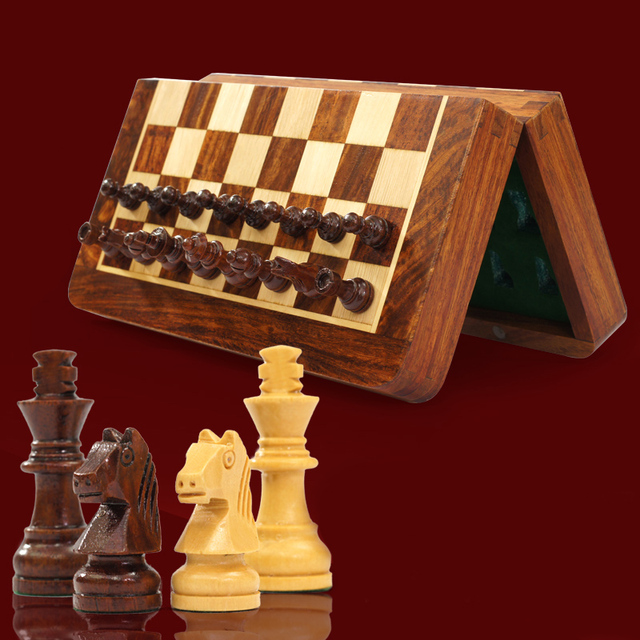 Bstfamly Wooden Chess Set Portable Of International Magnetic Folding Chessboard Wood