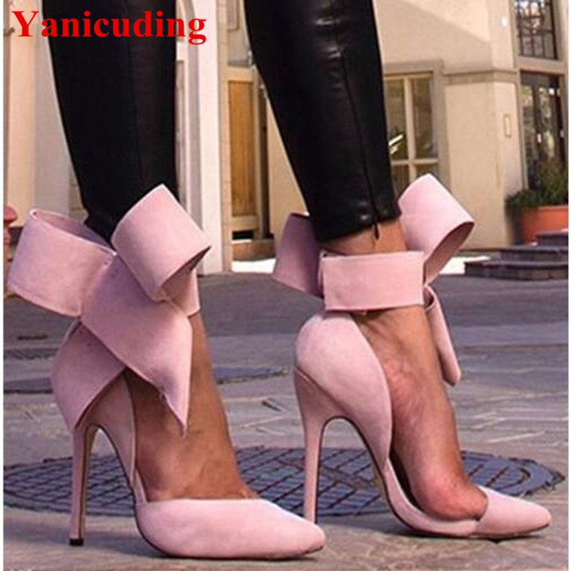 цены на Red Big Butterfly-Knot Shallow Cut-Outs Pumps Bow Tie Pointed Toe Stiletto High Thin Heels Sexy Women Sandals Shoes Party Woman в интернет-магазинах