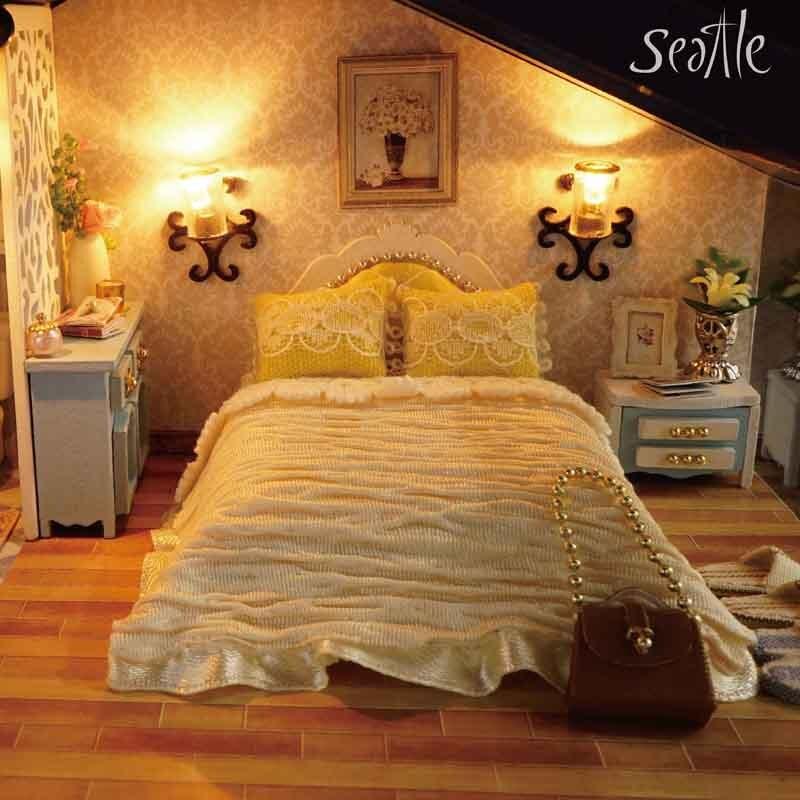 Linda casa de muñecas en miniatura Casa de muñecas DIY con muebles - Muñecas y accesorios - foto 6