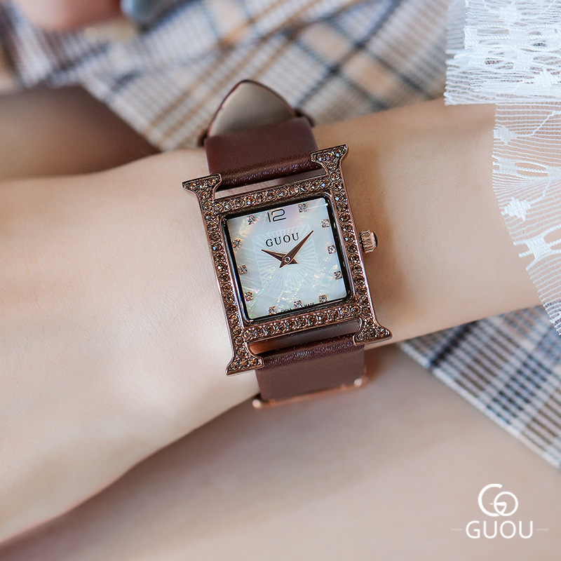 Top Brand Rhinestone Crystal Quartz Women Watches Women Diamond Square Casual Watch Luxury Ladies Watch Clock horloges vrouwen kimio ultra slim top brand woman watches fashion ladies crystal clock black ceramics gold luxury women rhinestone diamond watch