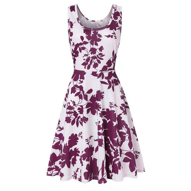 Europe and America Women's Clothing Prints Dresses Summer Beach Round Neck Sleeveless Large Swing Dress
