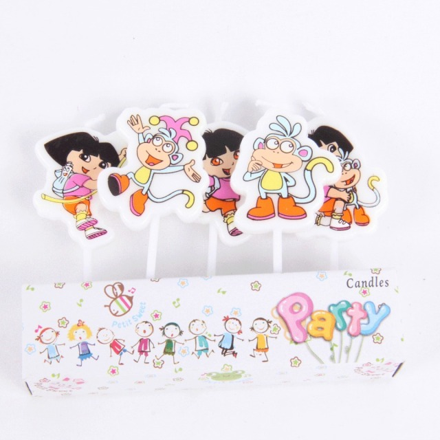 1set Dora Cartoon Candle Kawaii Birthday Cake Candles Robot Candles