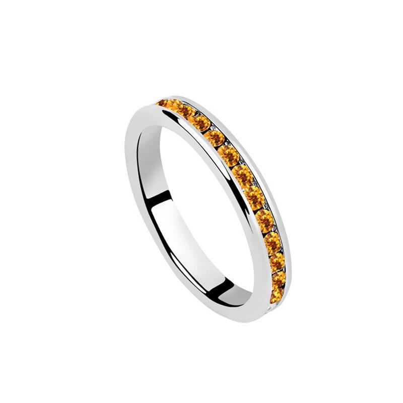 White Wedding Ring Austria Crystal Simple Band Rings Women Men ...
