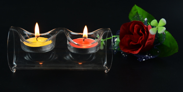 1PC European crystal glass candle holder transparent round long tube with 2 holes candlestick for dinner glass crafts JY 1177