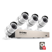 ZOSI New 1080P (1920 x 1080p) POE Video Security System and (4) 2 Megapixel Outdoor Bullet IP Cameras with 100ft Night Vision