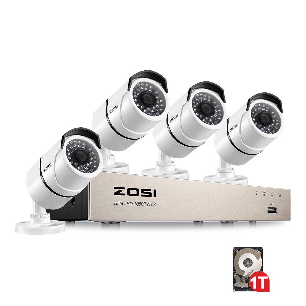 ZOSI Nouveau 1080 p (1920x1080 p) POE Vidéo Système de Sécurité et (4) 2-Megapixel Extérieure Bullet Caméras IP avec 100ft Nuit Vision