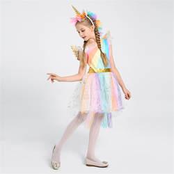 Детские костюмы на Хеллоуин Косплей Костюм Единорог обувь для девочек платья женщин сценическое шоу Радуга платье принцессы карнавальный