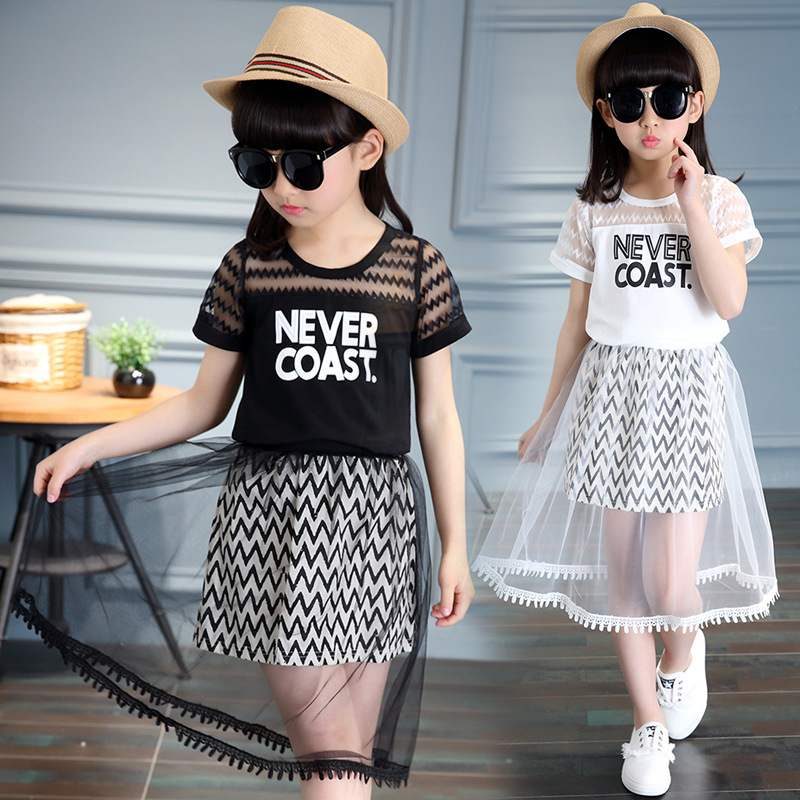 New Children Clothing Sets For Girls T-Shirts & Long Skirts 2Pcs Summer Girls Outfits 4 5 6 8 9 10 12 years old School Suits цена 2017