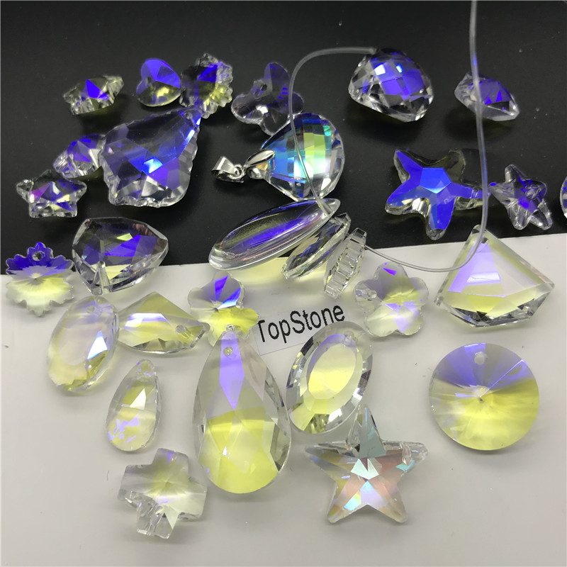 PACK OF FIVE 14MM HEART SHAPED CRYSTAL GLASS PENDANTS OTHER COLOURS AVAILABLE